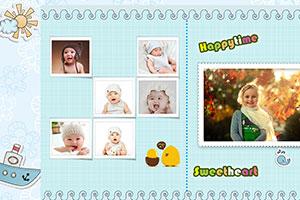 活泼可爱的宝宝的电子相册模板,淡蓝色的基调,配合卡通元素,非常适合儿童的电子相册制作